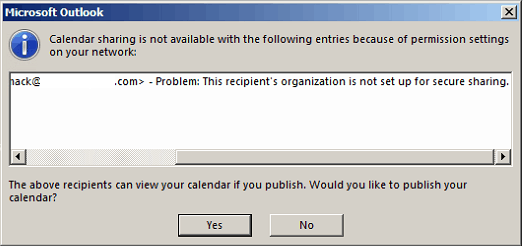 SOLVED: This recipient's organization is not set up for secure sharing. Issues sharing a calendar in Outlook.