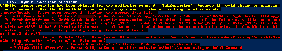 Powershell - Import Session - Execution Policy Failure
