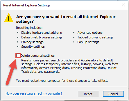 Reset Internet Explorer Step5